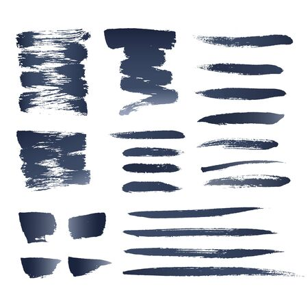 blue grey: Set Of Photo Realistic Vector Brushes. Ink Strokes Isolated On White