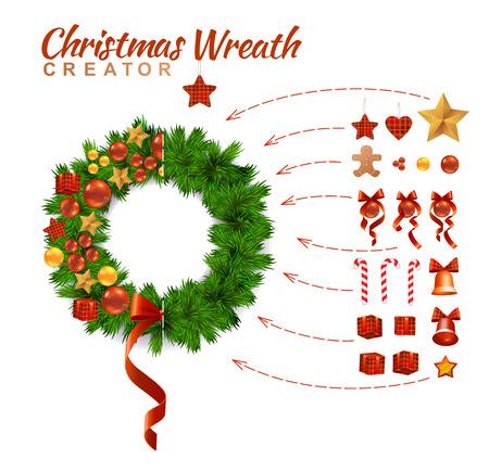 creador: Corona de Navidad Decoración Diseño Creador. Estilo tradicional de la decoración. Aislado En Blanco