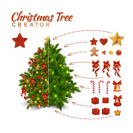 creador: Diseño del árbol de navidad Decoración Creador. Estilo tradicional de la decoración. Aislado En Blanco Vectores