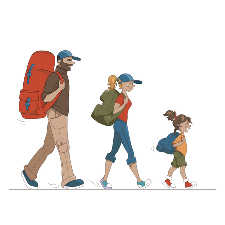 family hiking: Colorful Vector Cartoon Family On Hiking Vacation