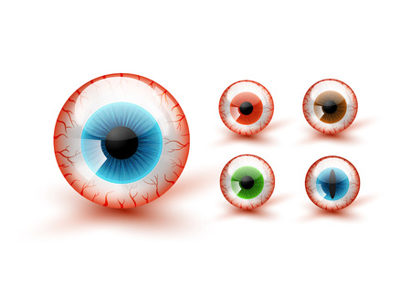 Scary Bloody Realistic Eyeballs. Vector Halloween Set 免版税图像 - 68352311