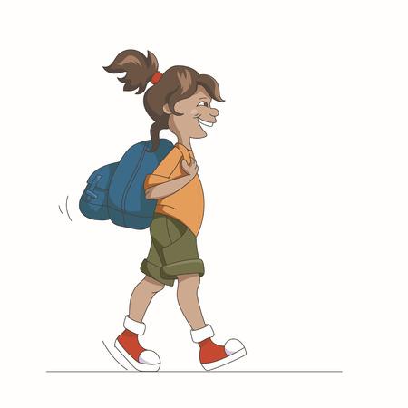 Cartoon Jeune fille marchant avec sac à dos isolé sur blanc