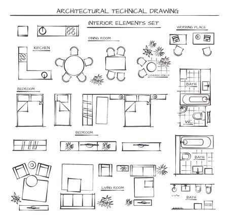 Professional Architectural Vector Set Of Interior Elements. Plan View