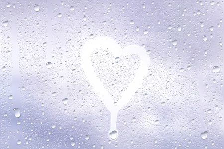 finger shape: Realistic Vector Background Of Raindrops On The Window With Hand Drawn By Finger Heart Shape Illustration