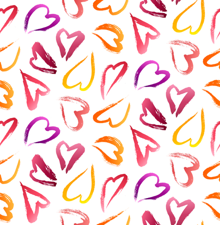 hearts background: Vector Seamless Valentines Day Theme Pattern. Lipstick Hearts Background.