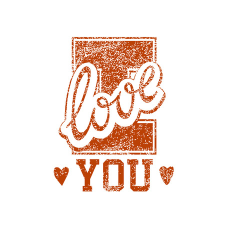 old stamp: I Love You Vector Old Style Grunge Stamp Isolated On White