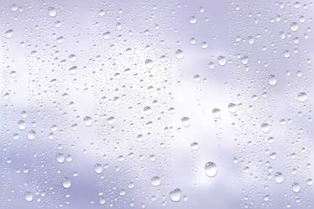 dull: Vector Photo Realistic Image Of Raindrops Trough Window Glass At Dull Sky View Illustration