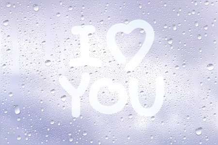 finger shape: Realistic Vector Background Of Raindrops On The Window With Hand Drawn By Finger Heart Shape And Sign I Love You