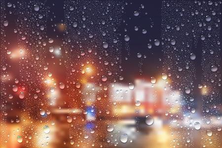 acqua bicchiere: Photo Vector un'immagine realistica delle gocce di pioggia sul vetro della finestra di notte in città