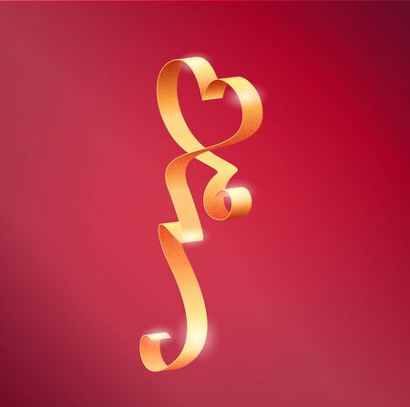 Vector Photorealistic Heart Shape Luxury Glamour Golden Ribbon For Valentines Day Cards Decoration On Pink Background