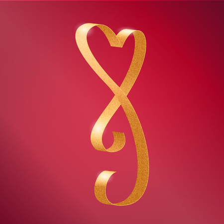 glamour luxury: Vector Photorealistic Heart Shape Luxury Glamour Golden Ribbon For Valentines Day Cards Decoration On Pink Background