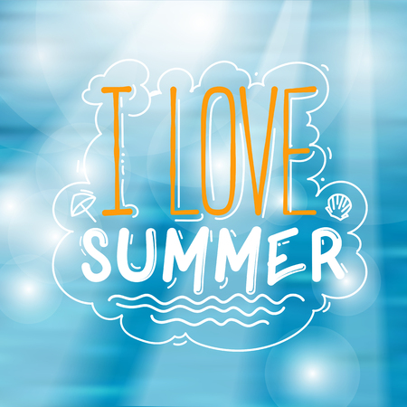 I Love Summer Sign Over Bright Tropical Water Background Illustration