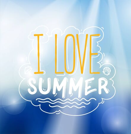 summer sign: I Love Summer Sign Over Bright Tropical Sky Background