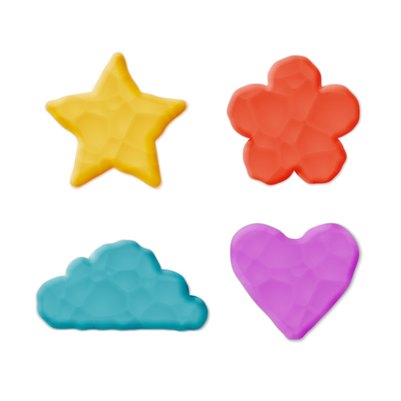 Realistic Plasticine Clay Shapes Set.