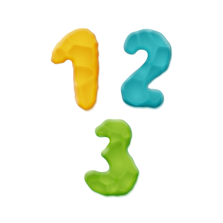Vector Photo Realistic Plasticine Clay Numbers. Quality Close Up View. One, Two, Three
