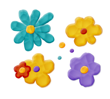 Plasticine Hand Made Flowers. Vector Quality Modeling Clay Texture Illustration