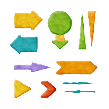 Set of Vector Realistic Plasticine Arrows Isolated on White Background.