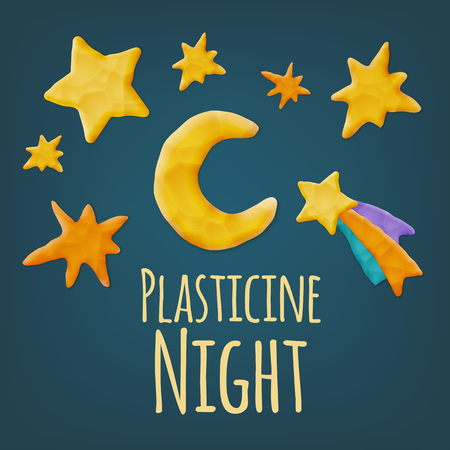 starry night: Set of Vector Realistic Plasticine Shapes. Moon, Comet and Stars.