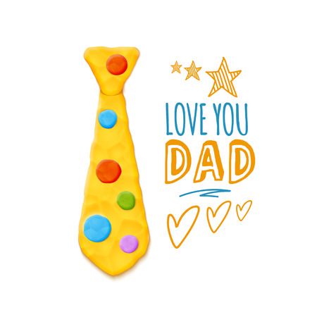 Vector Bright Cute Fathers Day Greeting With Realistic Clay Tee Decoration Illustration