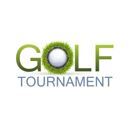 1 つの現実的な穴とゴルフ トーナメント デザイン コンセプト。  イラスト・ベクター素材