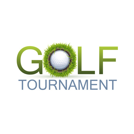 Golf Tournament Design Concept With The Realistic Hole In One. Çizim