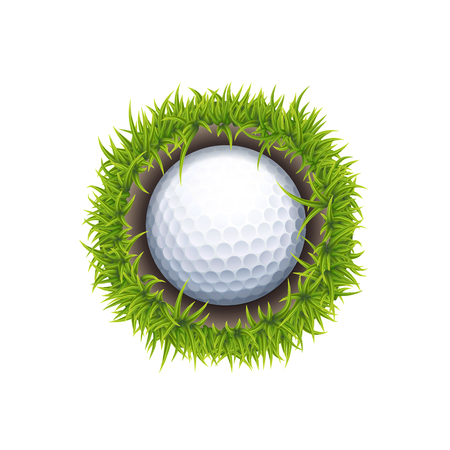 Vector IOS or Android Golf Ball In The Hole One Round Icon Isolated On White