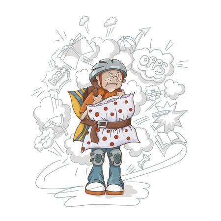 Illustrazione del concetto di eccessivamente protezione. Ragazzo con casco, protezione per il ginocchio e cuscini. Vettoriali