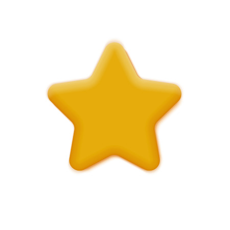 3d Vector Realistic Mat Yellow Star Isolated On White
