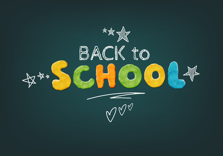 Vector Bright Back To School Design Template With Modeling Clay Lettering On The Chalkboard Illustration