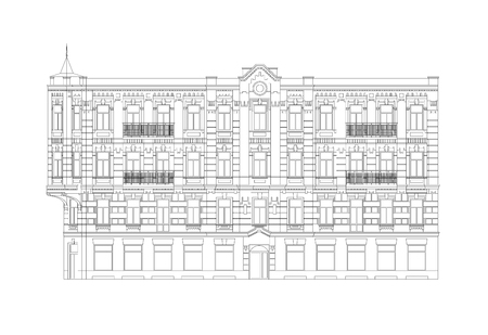 Facade Of The Classical City Building From The Beginning Of The XX Century. Architectural Professional Drawing With Editable Outlines Vetores