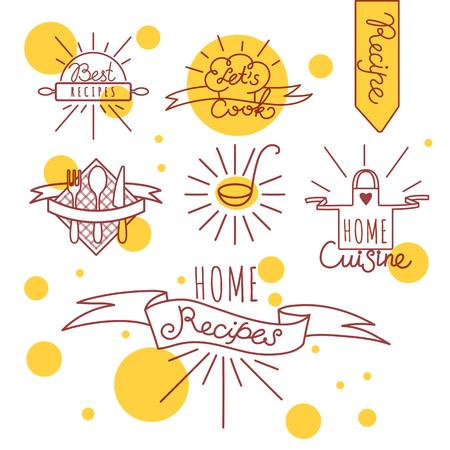 Set Hand Handgetrokken Koken Badges Voor School, Klassen, Kaarten Of Flyers