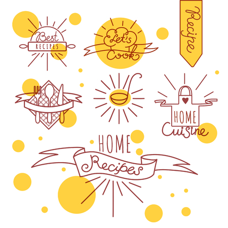 Set Of Hand Drawn Cooking Badges For School, Classes, Cards or Flyers Illustration