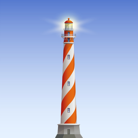 Red And White Old Lighthouse Vector Realistic Illustration