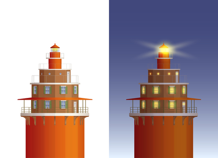 Old Lighthouse Day And Night Illustrations. Flat Shadow Style