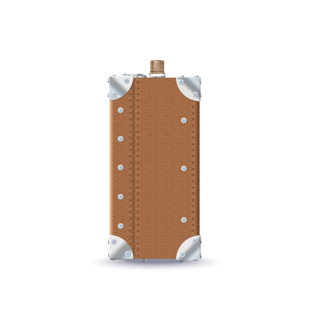 Vector Realistic Brown Leather Retro Suitcase Illustration