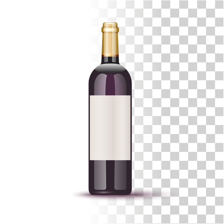 Vector Realistic Wine Bottle Illustration On Transparent Background Illustration