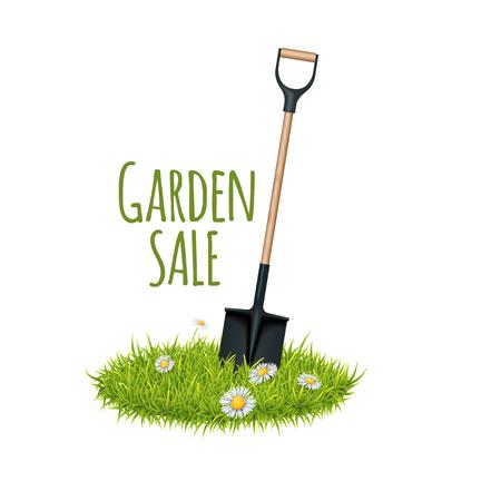 Vector Green Fresh Grass And Garden Shovel. Flyer, Ad Or Card Template. Garden Theme Illustration