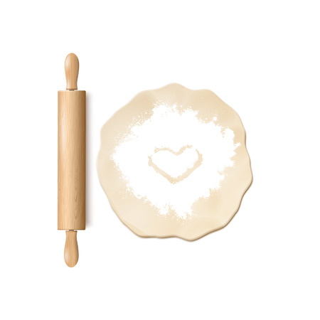 Realistic Vector Illustration Of Wooden Rolling Pin, Dough And White Flour On White Background. Top View