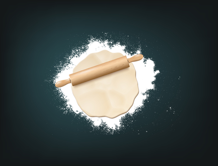 Realistic Vector Illustration Of Wooden Rolling Pin, Dough And White Flour On Dark Background. Top View Çizim