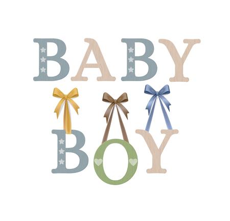 Vector Photo Realistic Plywood Celebration Sign. Baby Boy