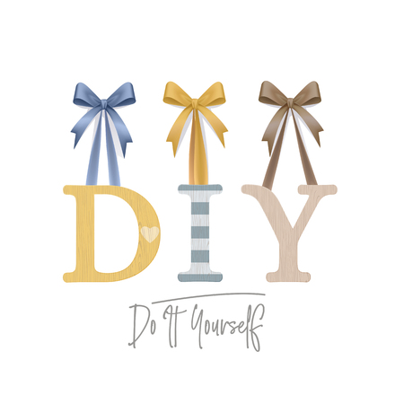 DIY - Do It Yourself. Vector Photo Realistic Plywood Sign