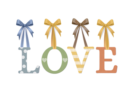 Love. Vector Photo Realistic Plywood Sign Isolated On White