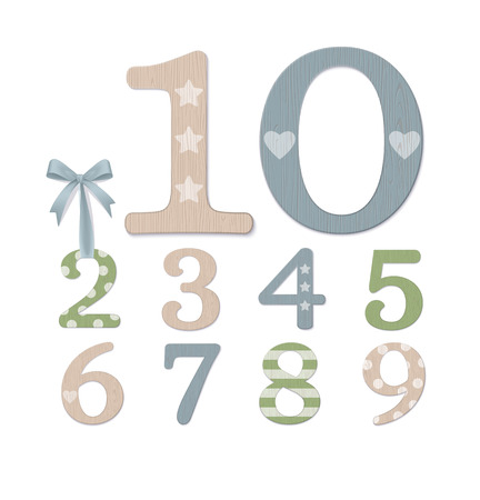 Vector Photo Realistic Plywood Numbers Isolated On White