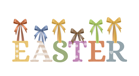 Vector Photo Realistic Handmade Plywood Easter Sign Isolated On White