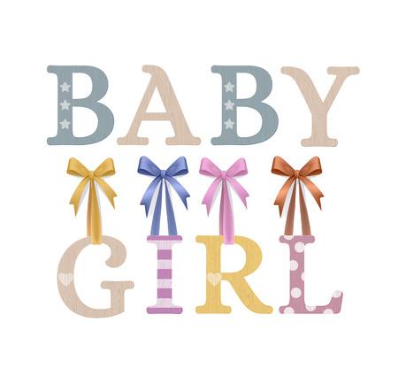 Vector Photo Realistic Plywood Celebration Sign. Baby Girl Çizim
