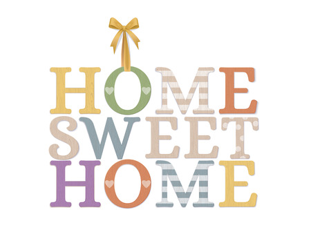 Home Sweet Home. Vector Photo Realistic Cozy Plywood Sign Isolated On White