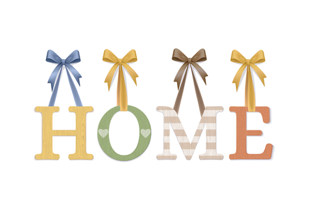 Home. Vector Photo Realistic Cozy Plywood Sign Isolated On White