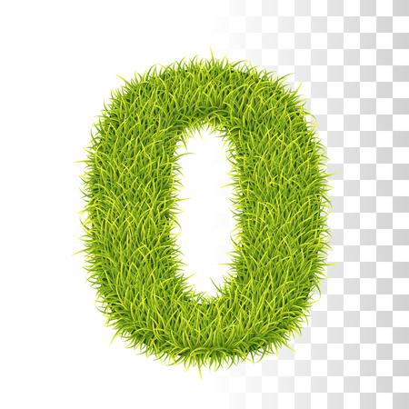 0. Vector Number Zero Illustration. Fresh Green Grass Realistic Texture Çizim
