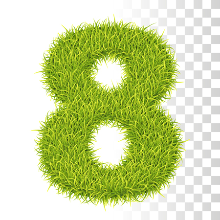 8. Vector Number Eight Illustration. Fresh Green Grass Realistic Texture