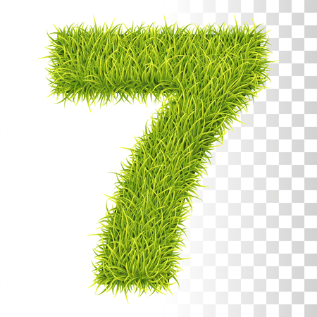 7. Vector Number Seven Illustration. Fresh Green Grass Realistic Texture Çizim